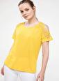 DeFacto Dantel Detaylı T-shirt Sarı